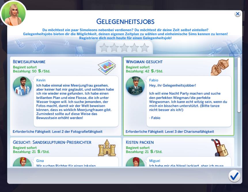 Sims4Inselleben Gelegenheitsjobs