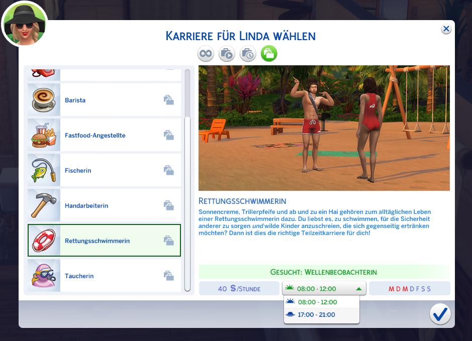 Sims4Inselleben Teilzeitjobs